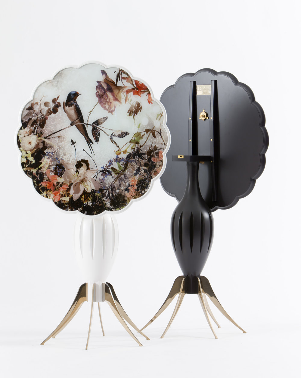 La Petite Blanche et Noire , 2014, Painted Wood, Gold Mirror Polished Stainless Steel, Low-Iron Glass, Artist Image Painted in Ceramic Frit, 30 × 24 in