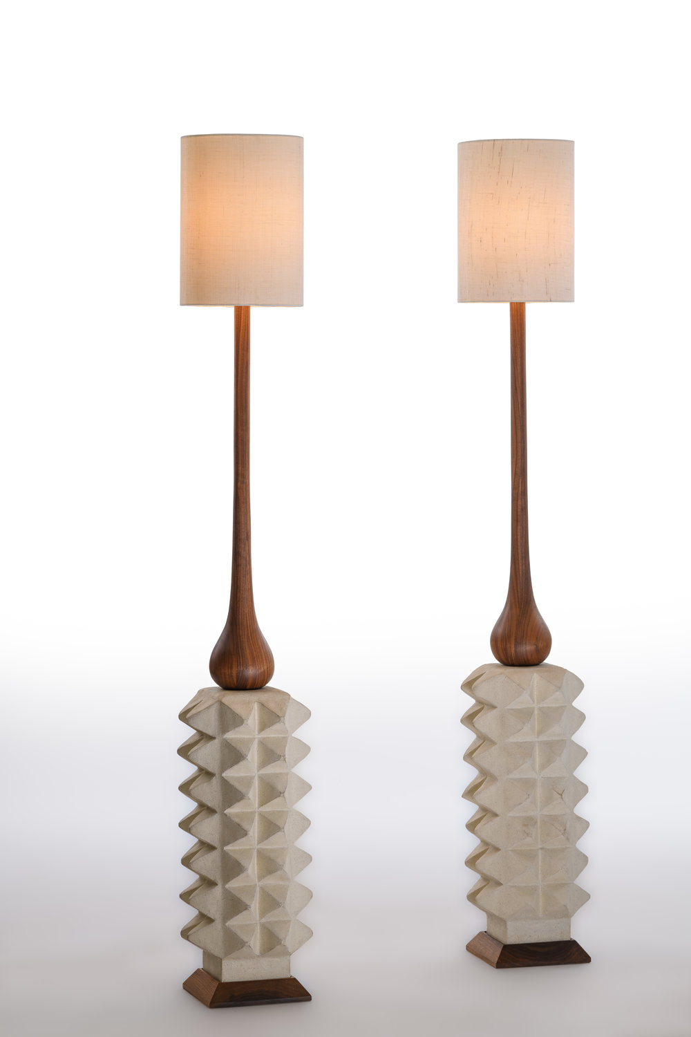 "Apex Lamps (Set of 2)  Collaboration between Shizue Imai and Chad Jensen  Hand-Turned Walnut, Glazed Stoneware, Dimmer Switch Included, 57"" x 8.5"" x 8.5"" ea. / Unique"