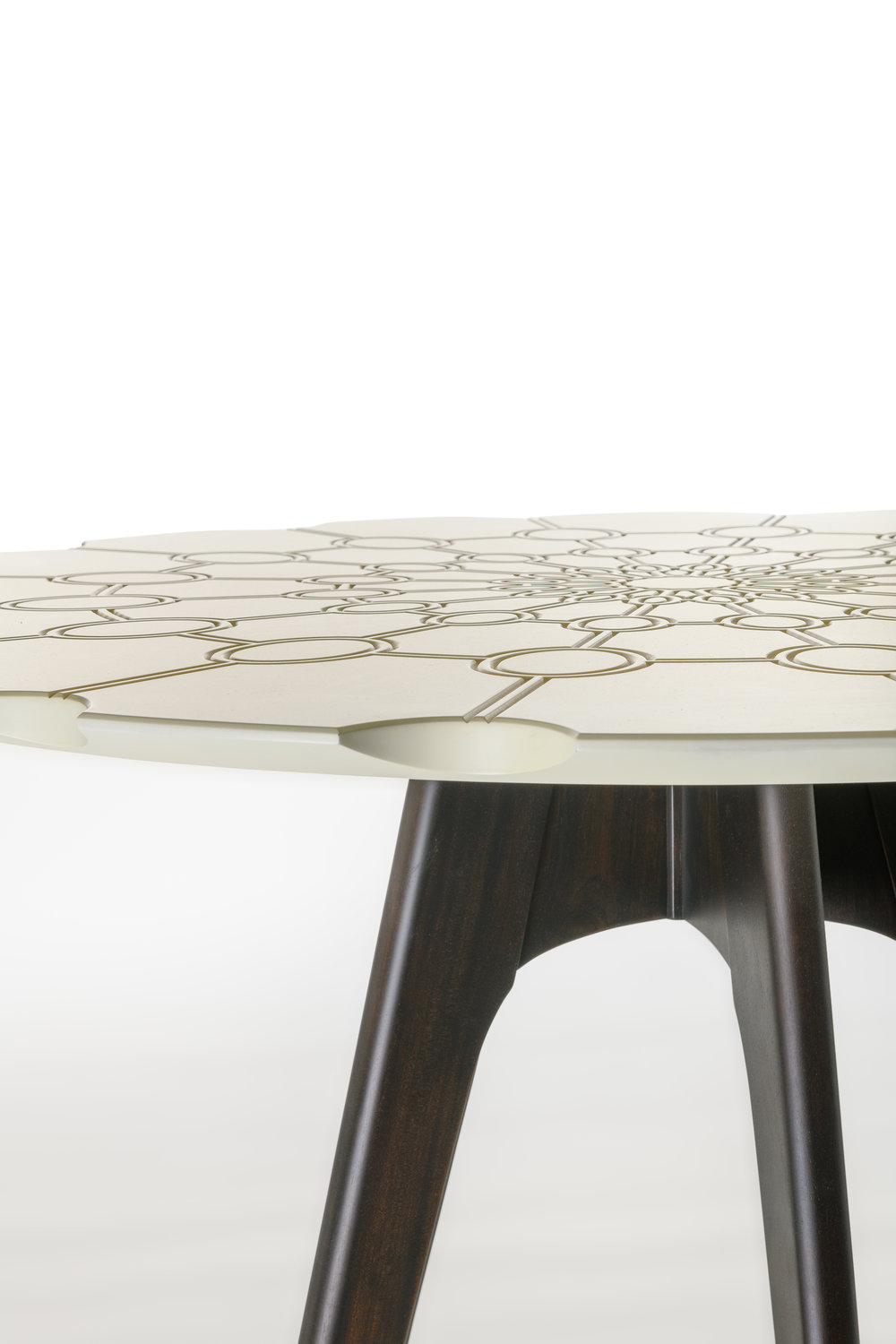 "Danska Table — Table Top Detail,  Mahogany, Sepele, Composite and Leather, 41.25""H x 16""W x 19.5""D"