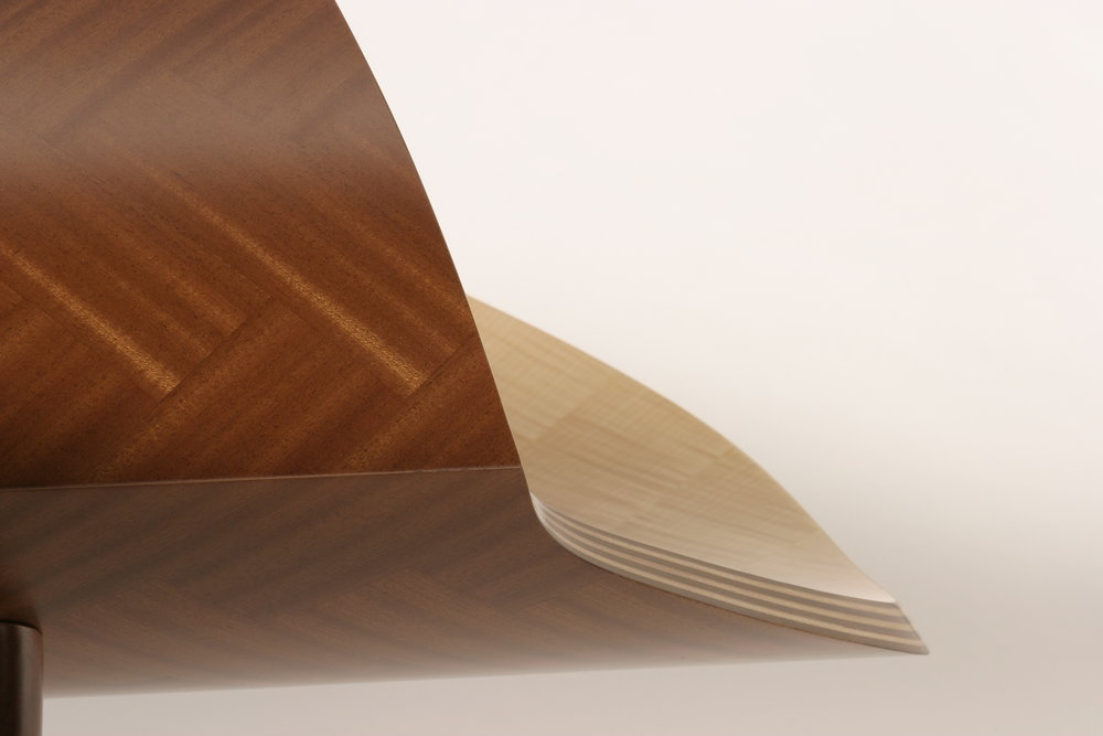 "DeVille — Detail,  Sapele, Curly Maple and Mahogany  18"" x 72"" x 24.25"""