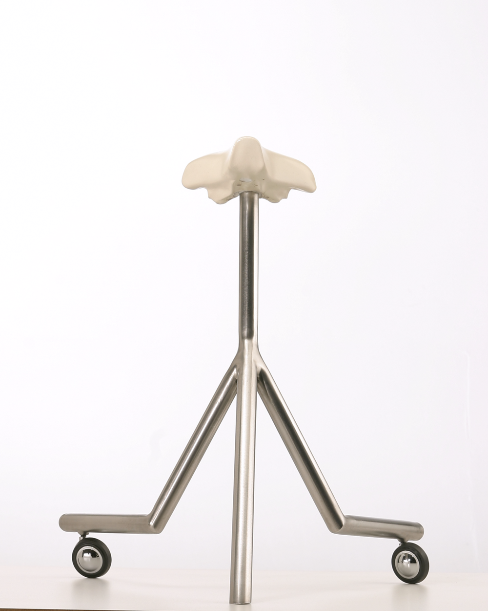 "Tri-Pod, Bicycle Stool Series , Porcelain and Stainless Steel, 23"" x 20"" x 20"