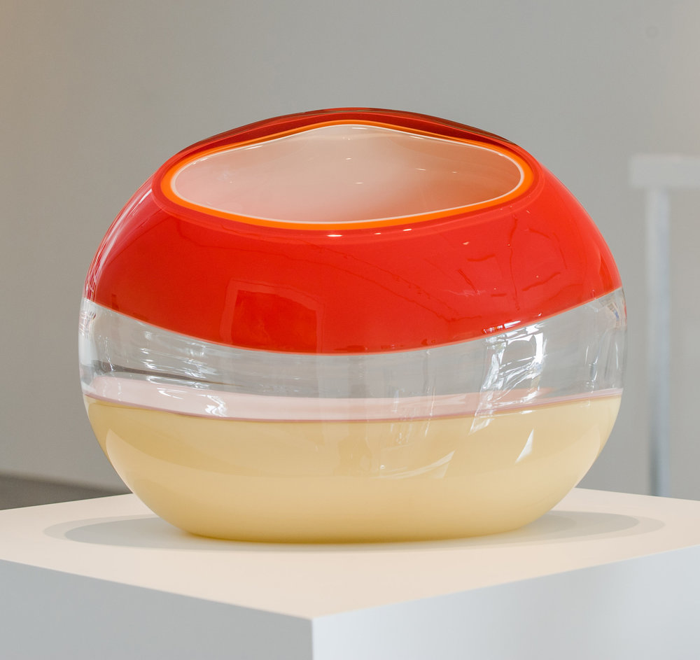"Ember Incalmo Orb in Red, Orange and Ivory,  Blown and Carved Glass 14""H x 18.5""W x 8""D"