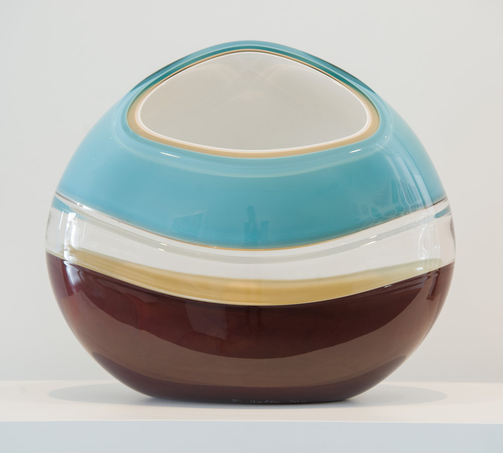 "Incalmo Orb in Aqua, Brown, White and Ivory,  Blown and Carved Glass, 19""H x 16.5""W x 9""D"