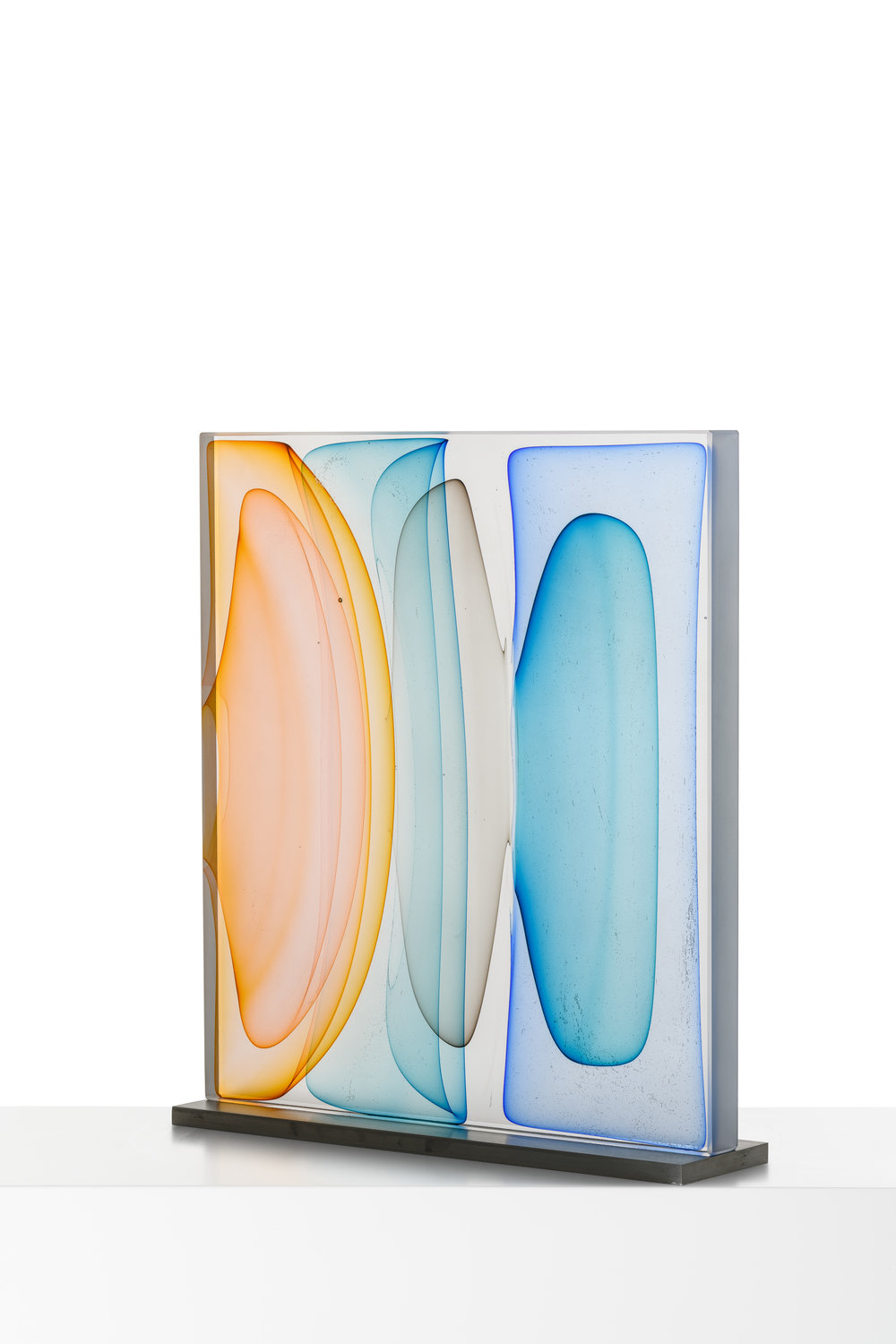 "Infusion Block in Amber, Aqua, Grey and Blues,  Blown and Solid-Worked, Kiln-Cast, Cold-Worked Glass, 18""H x 16""W x 4""D"