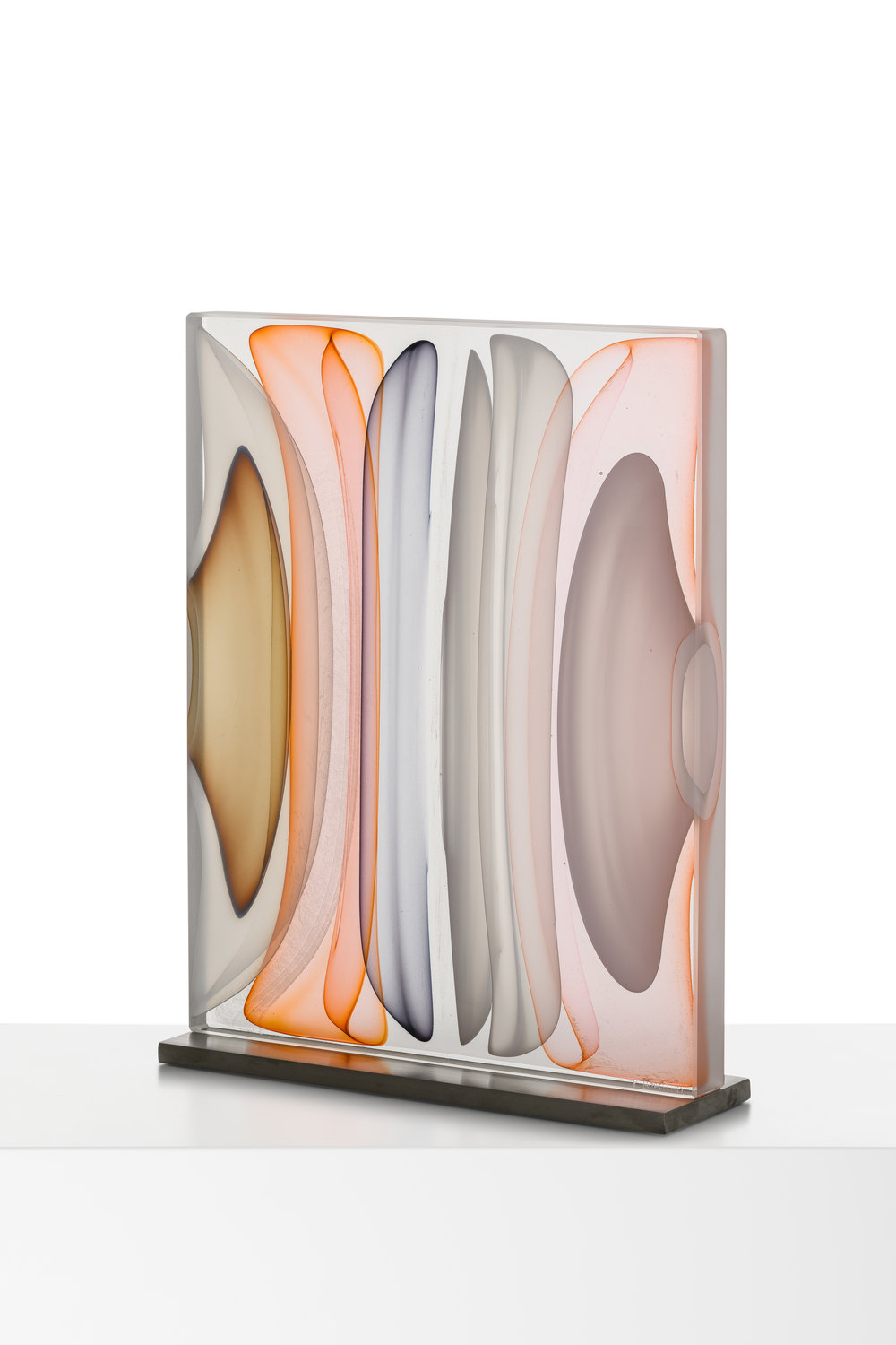 "Infusion Block in Opal, White, Amber, Brown and Grey,  Blown and Solid-Worked, Kiln-Cast, Cold-Worked Glass, 17.5"" H x 13.5""W x 4""D"