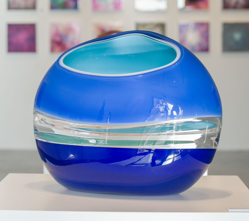 "Ocean Incalmo Orb in Blues and Celadon,   Blown and Carved Glass, 15""H x 18.5""W x 9""D"