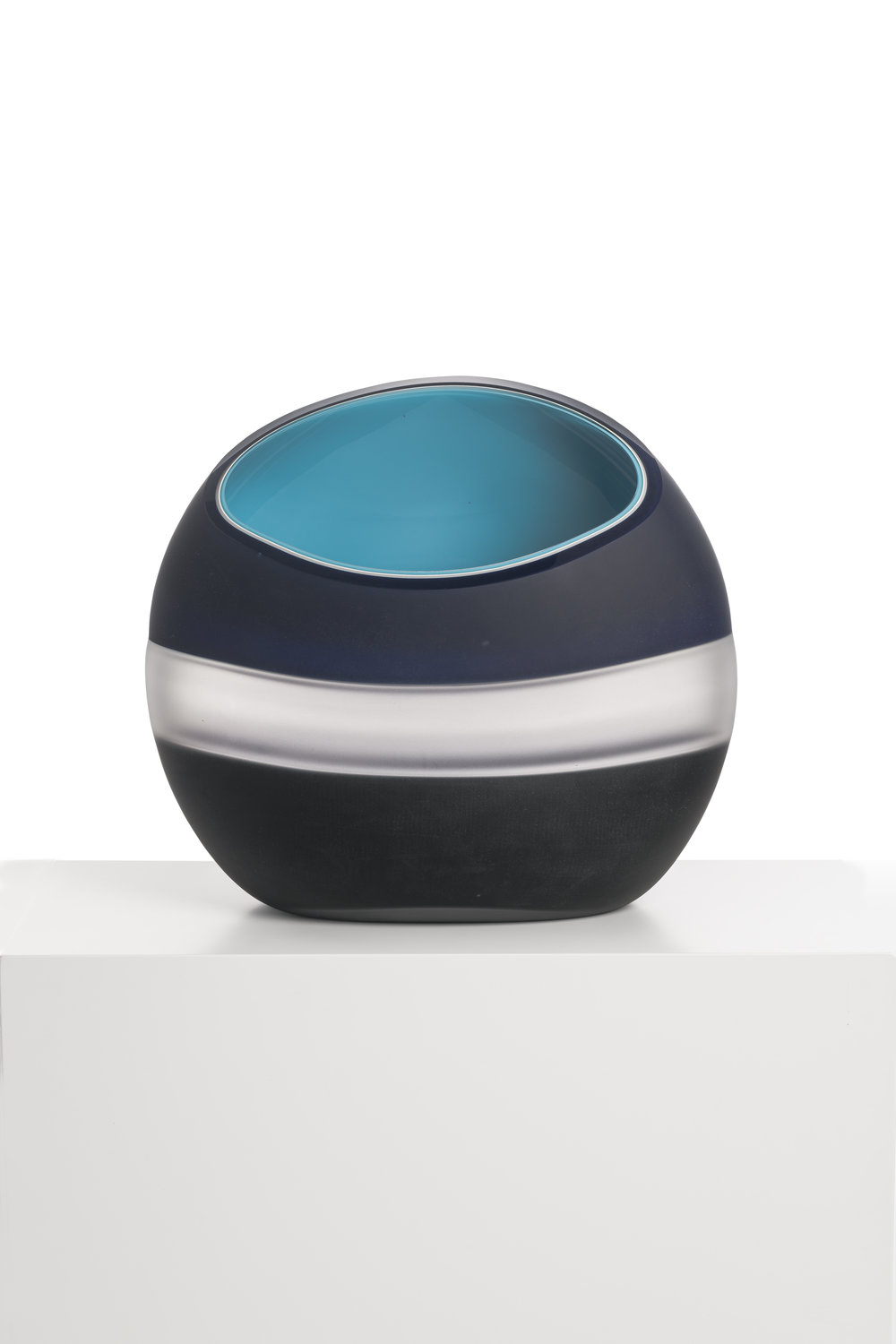 "Midnight II Incalmo Orb,  Blown and Carved Glass 15""H x 16""W x 7""D"