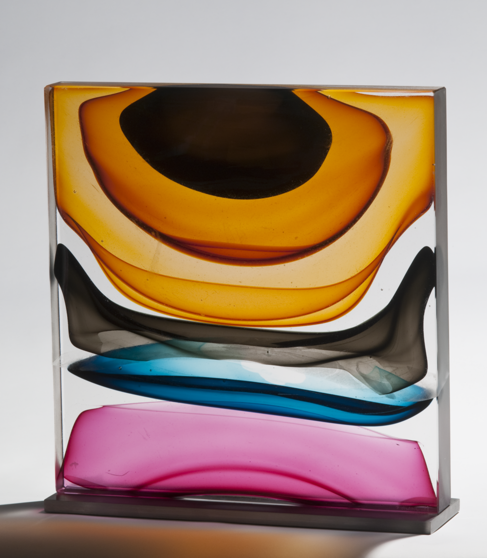 "Infusion Block in Golds, Gray, Blue and Ruby,  Blown and Solid-Worked, Kiln-Cast, Cold-Worked Glass 16""H x 15""W x 4""D"