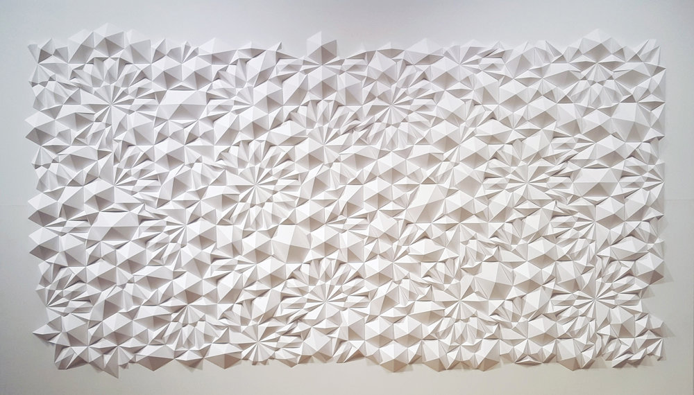 "Apophenia,  Cut and Folded Paper, 84""H x 144""W x 5""D"