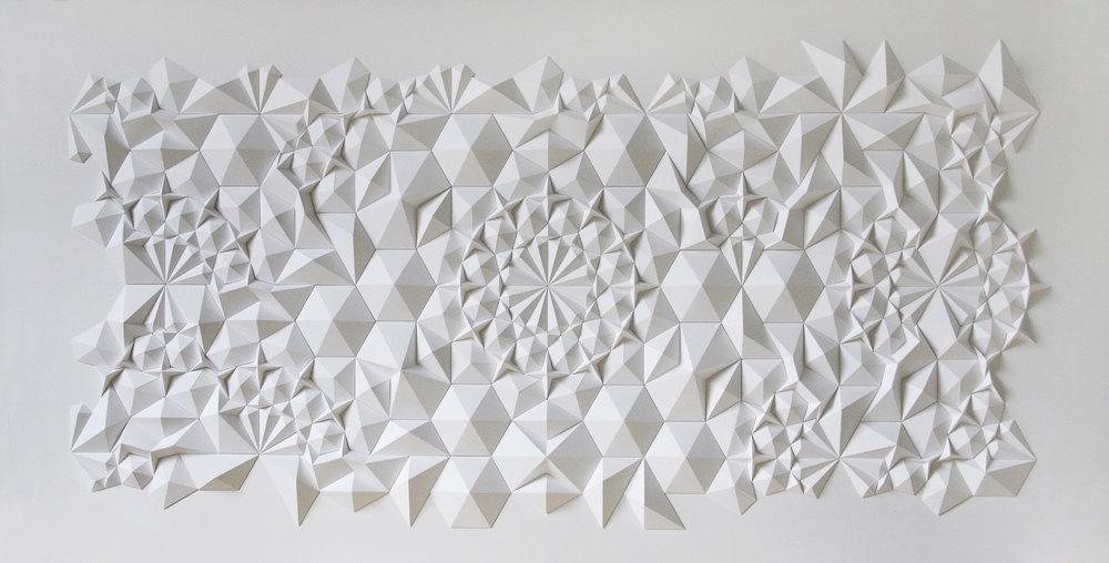 """Ara 117 Apo,  Cut and Folded Paper, UV Plexiglas, 39""""H x 74.5""""W x 3.25""""D"""