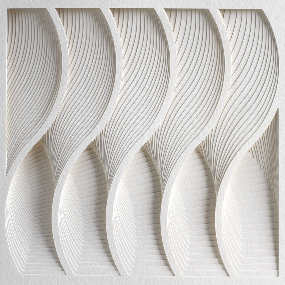 "Process Series 2 - Wave,  Cut and Folded Paper, 35""H x 27""W, Photo by Cullen Stephenson"