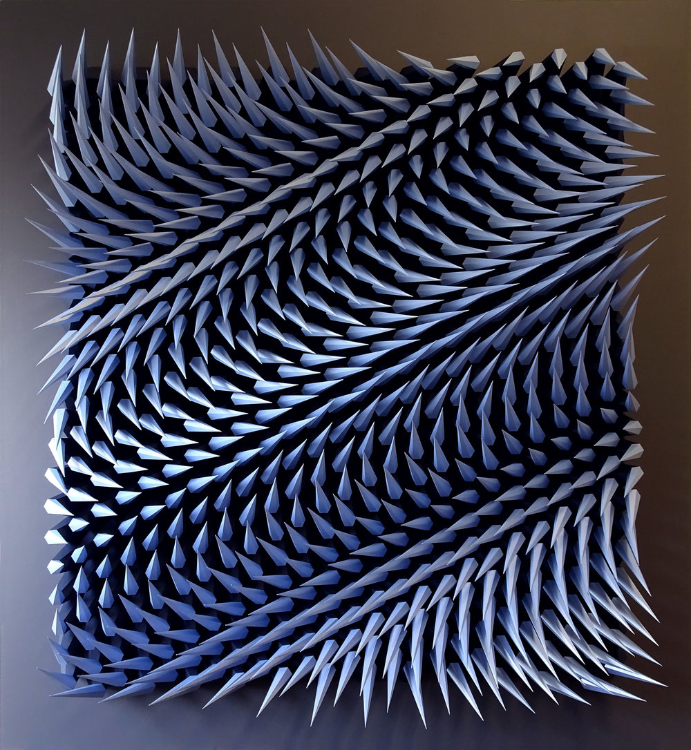 "Unholy 75,  Cut and Folded Imperial and Iridescent Blue Paper, 52.5""H x 57""W x 6""D"