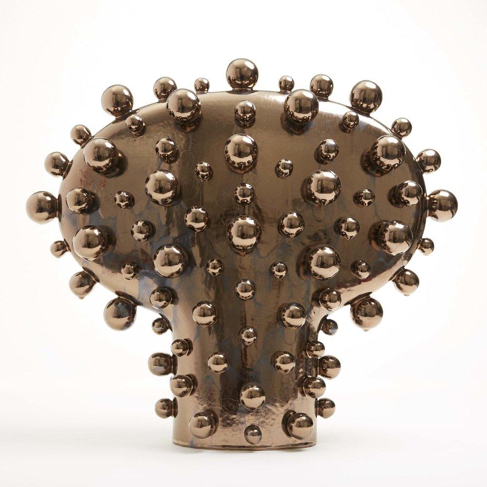 """Globoid,  Stoneware with Bronze Metallic Glaze, 23""""H x 26""""W x 13""""D"""