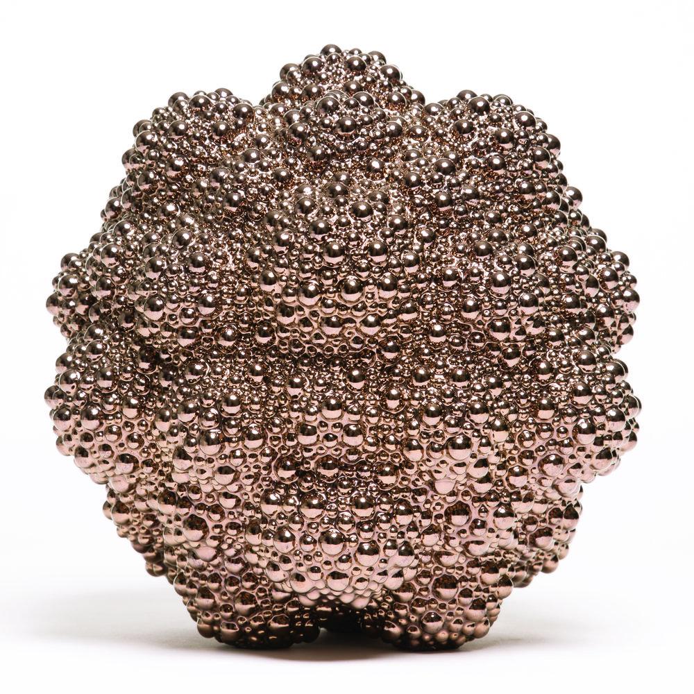 """Jeweled Atom,  Stoneware with Glossy Gold Glaze, 11"""" x 11"""" x 11"""""""