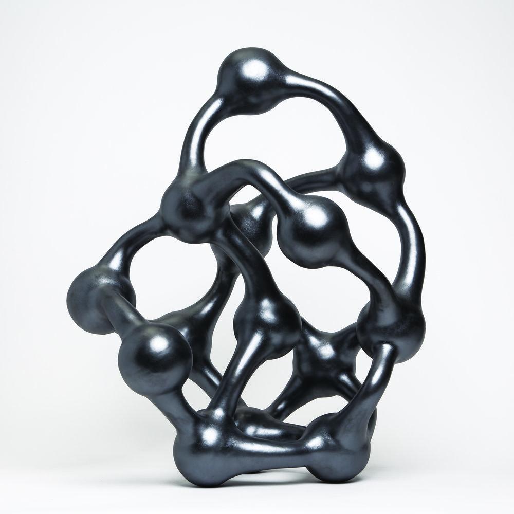 "Molecular 3,  Stoneware with Satin Metallic Glaze, 25""H x 20""W x 18""D"