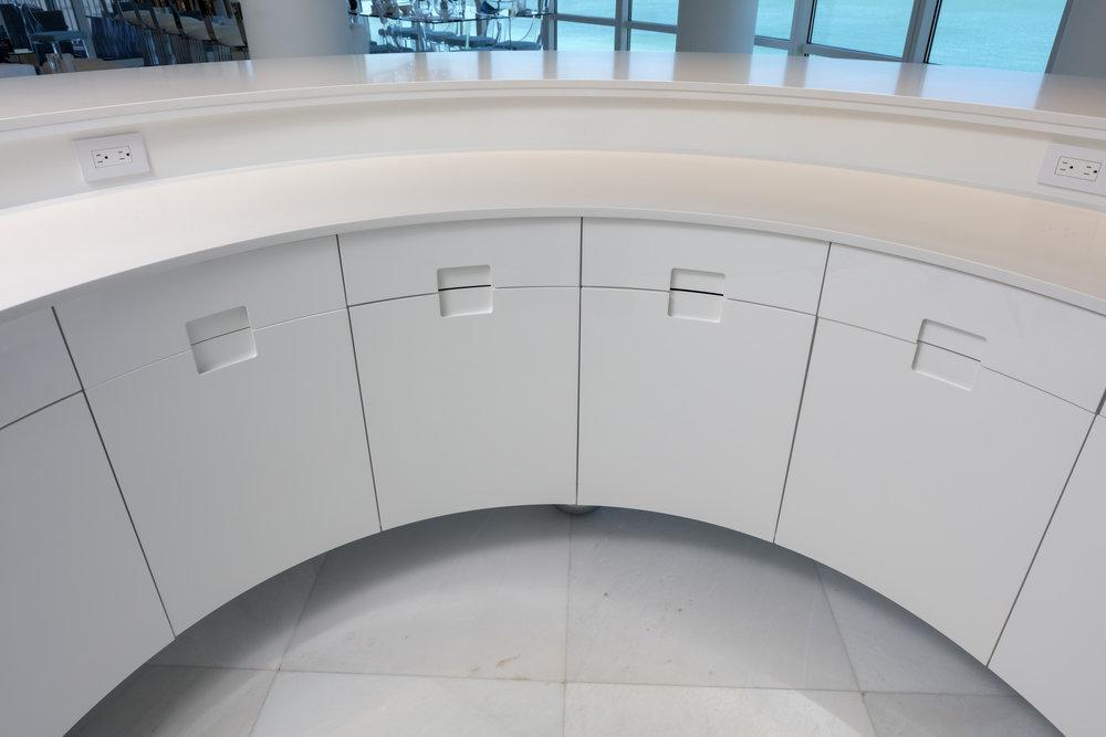 Deco Inspired Floating Bar   Back bar detail