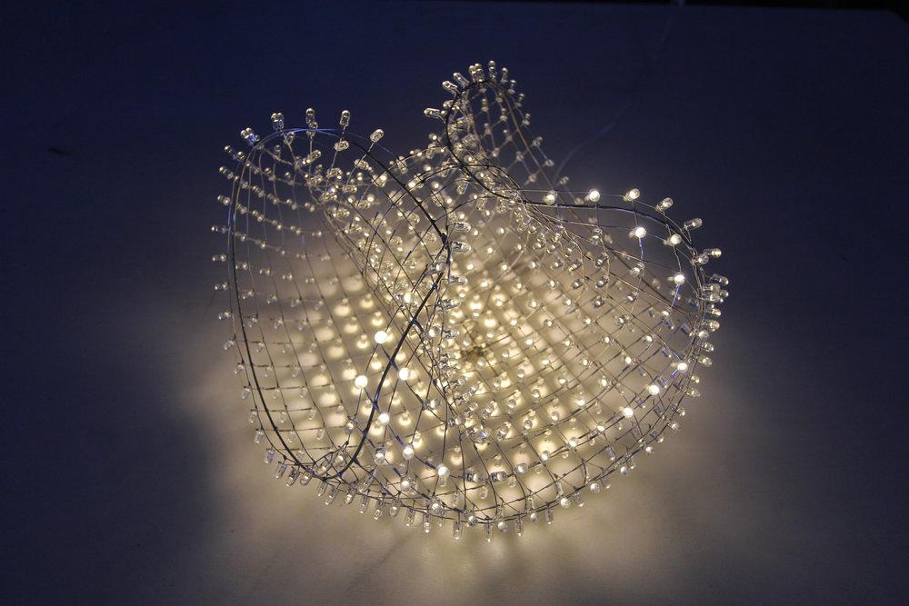 White Basket  Custom Cool White LED Mesh  Display by Chad Jensen