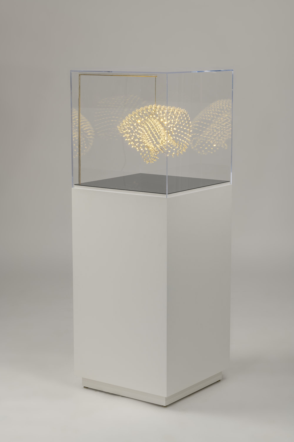 """White Basket - 1 Available  Custom Cool White LED Mesh  Display by Chad Jensen  56"""" x 20"""" x 20"""""""