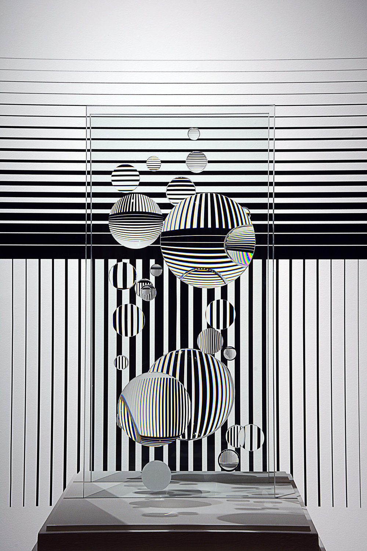 Dylan Martinez,  Inverted Logic , 2017, Camera Lens, Float Glass, Vinyl, Dimensions Vary