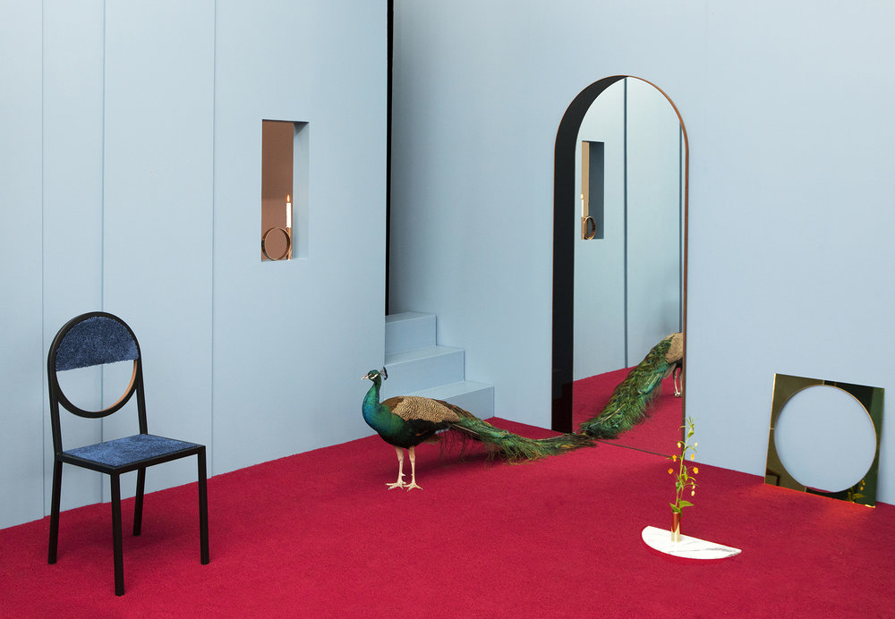 """Archway Mirror, Black and Clear Mirror, Steam Bent Walnut Frame, 84"""" x 26"""" x 1-1/4"""", Photo by Charlie Schuck"""