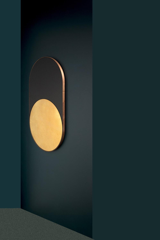 """Cylinder Mirror, Black and Antique Gold Mirror, Steam Bent Walnut Frame, 36-1/2"""" x 20-1/2"""" x 1"""", Photo by Charlie Schuck"""