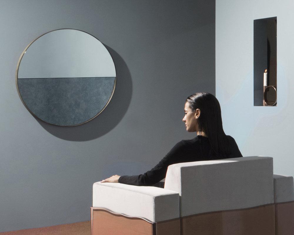 """Half-Step Mirror, Antique Cobalt and Clear Mirror, Walnut Frame, 36"""" x 36"""" x 2"""", Photo by Charlie Schuck"""