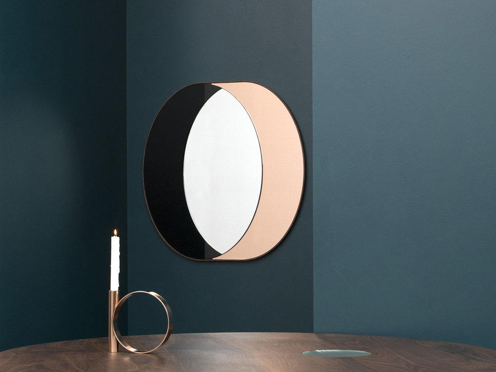 "Ring Mirror, Black, Peach and Clear Mirror, Walnut Frame, 33"" x 31"" x 1"", Photo by Charlie Schuck"