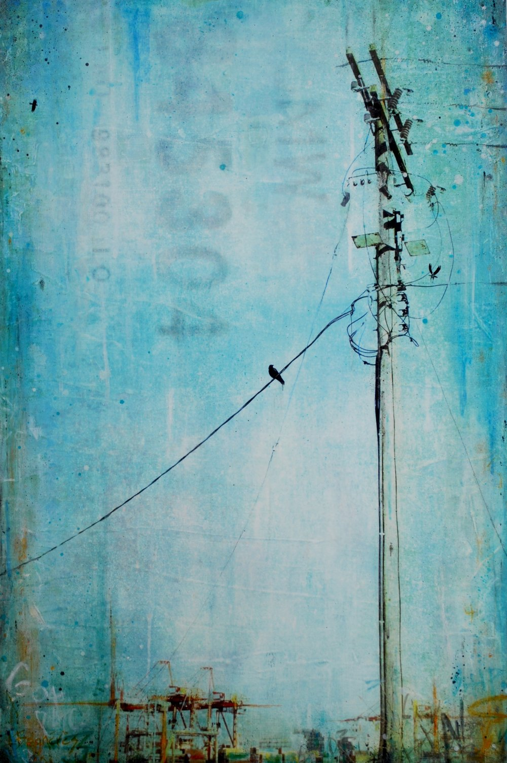 Cranes, Cables & Crows  2018, mixed media on cradled panel, 32x21 inches