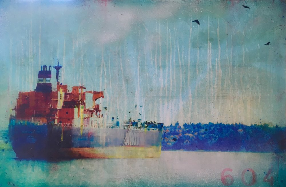 Portside  2018, mixed media on cradled panel, 24x30  sold