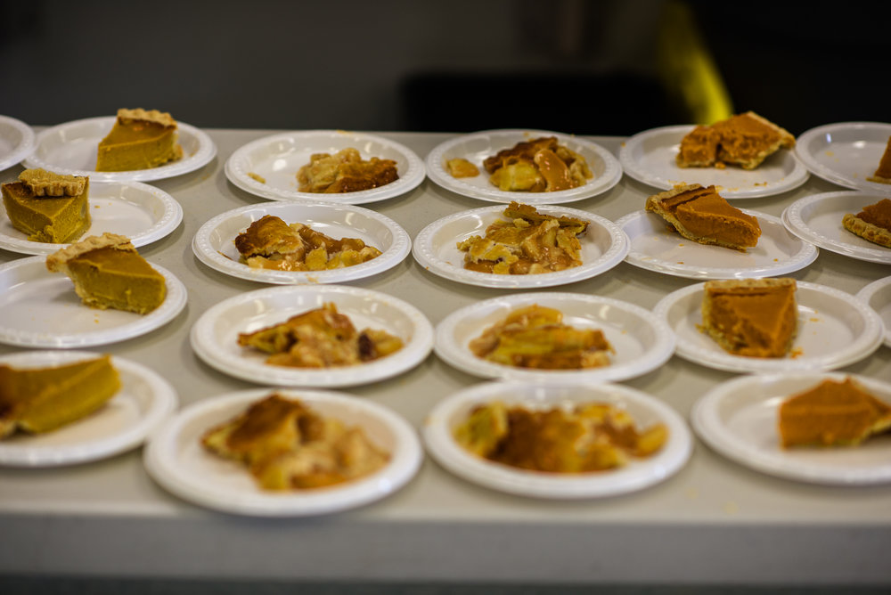 Pies on a table for Thanksgiving visits at the Lowell Correctional Institution for Women in Ocala, Florida.