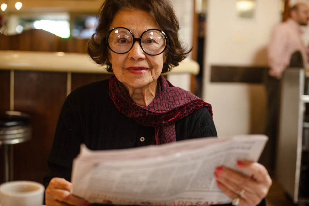 Bianca, age 82, sits in the cafe she visits daily in Los Angeles, 2008.