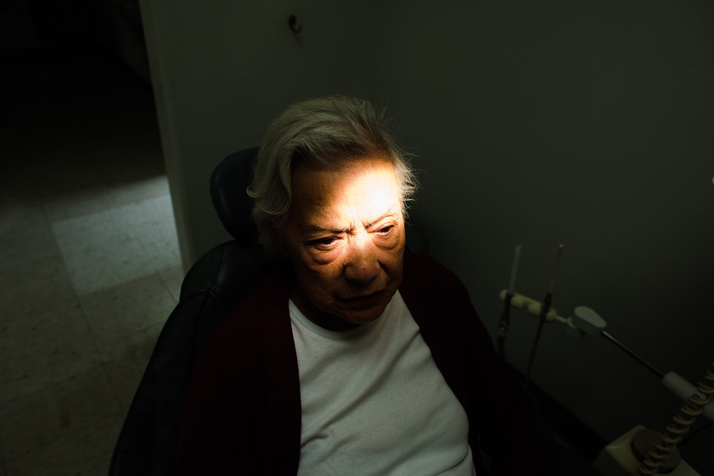 Bianca, age 85, sits in the dentist's chair, 2010.