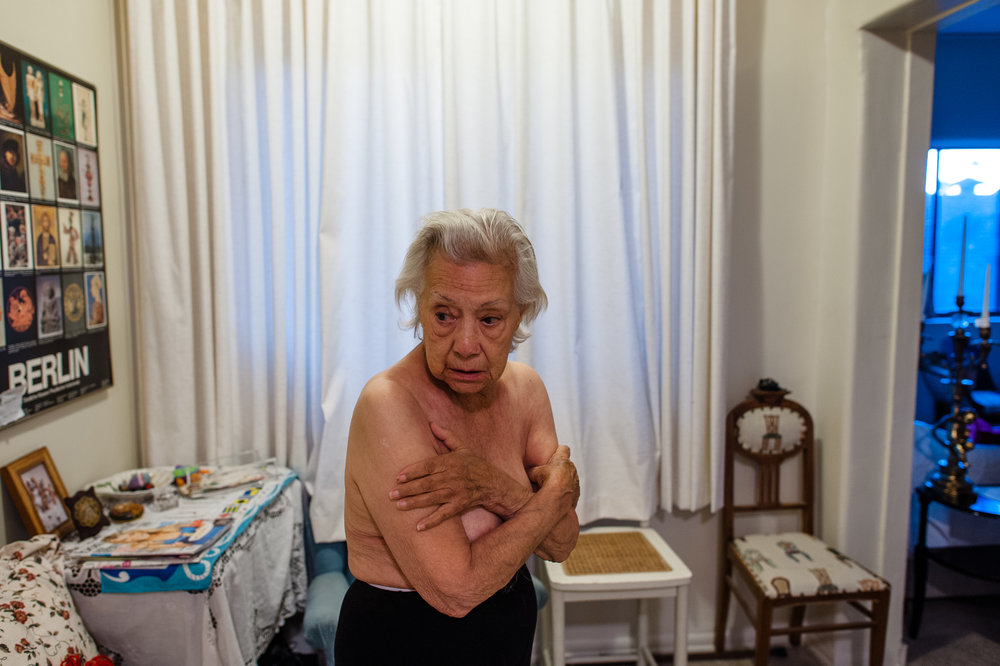 Bianca, age 85, stands in her apartment in Los Angeles, 2010.