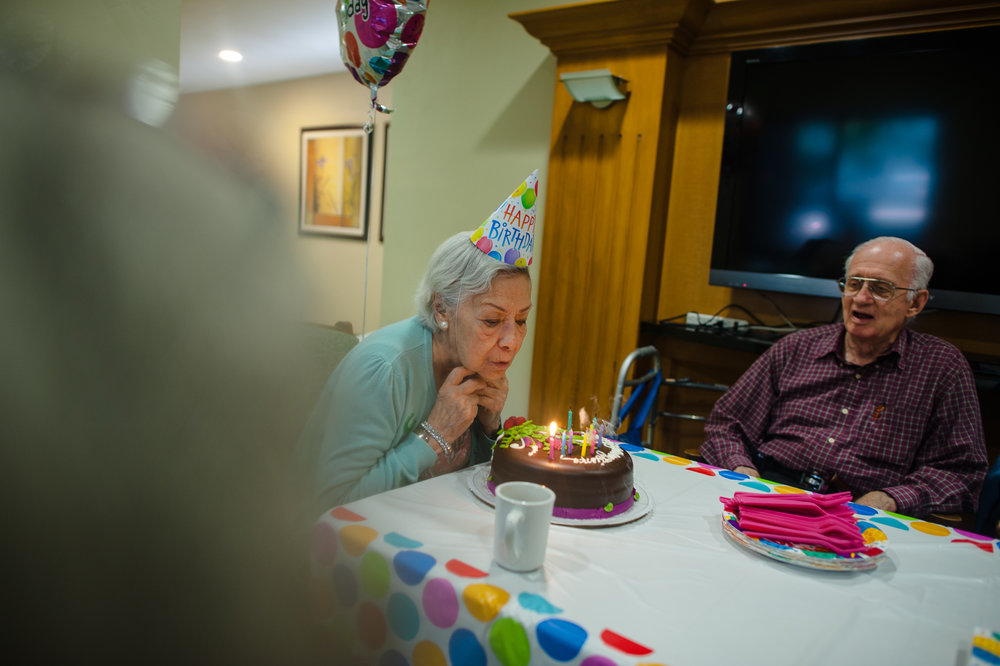 Bianca, age 87, blows out her candles, 2012.