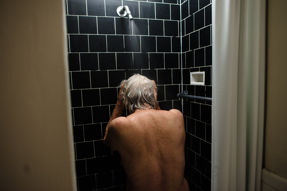 Bianca, age 85, showers, 2010.