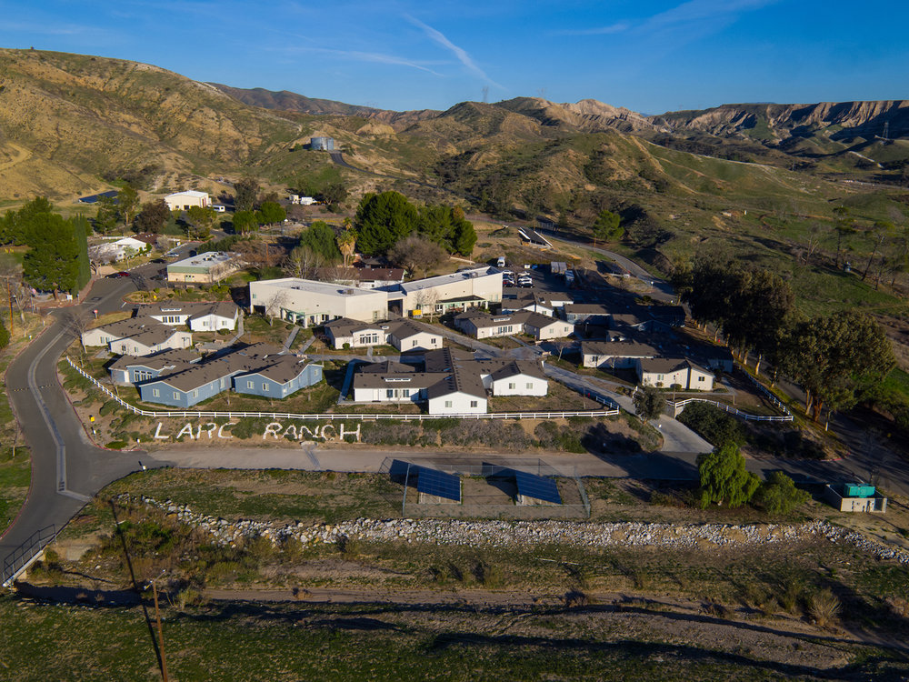 A view from above of LARC Ranch, a home to 100 developmentally disabled adults.