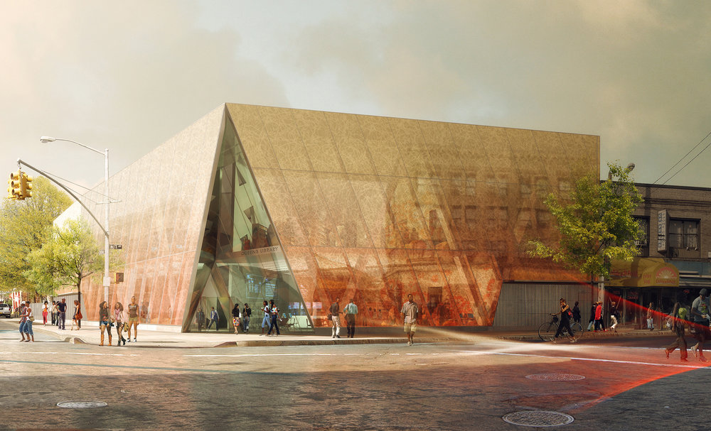 An artist's rendering of the new Far Rockaway Library scheduled for completion in 2021 // Renderings courtesy of Queens Library