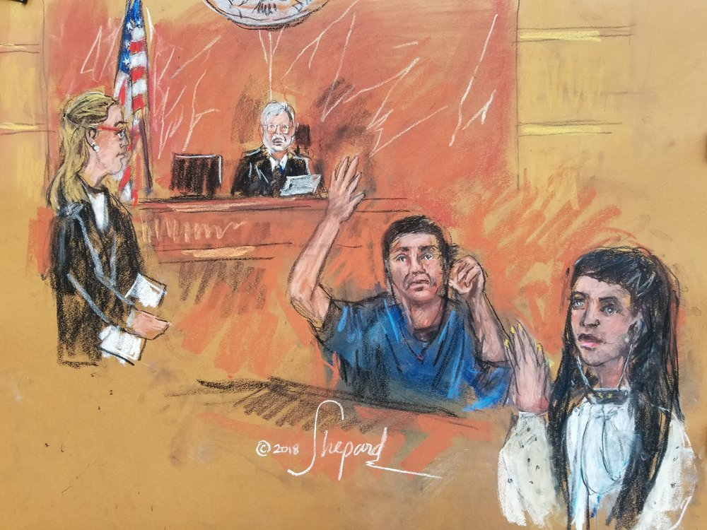 Joaquin Guzmán (center in blue), known as El Chapo, waves to his wife Emma Coronel Aispuro (right) while Andrea Goldbarg (left) and U.S. District Court Judge Brian Cogan look on. //  Eagle c ourt sketch by Shirley and Andrea Shepard
