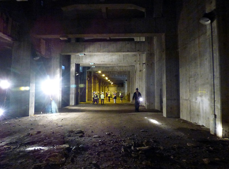 Reporters toured the interior of the section of the BQE which lies under the Brooklyn Heights Promenade.