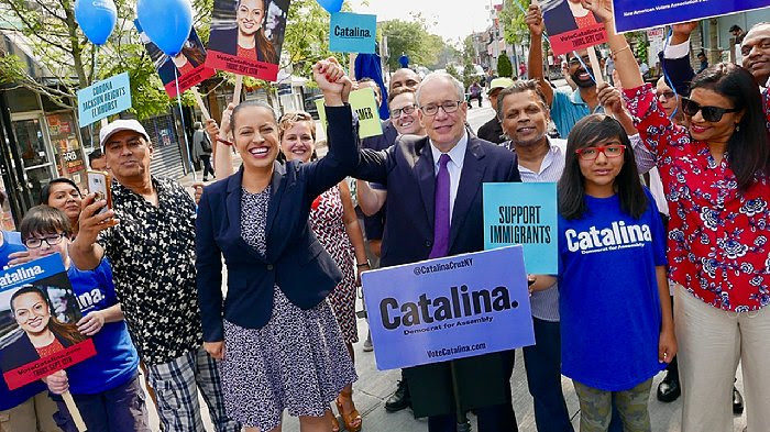 Latino Lawyers Association of Queens County President Catalina Cruz (in blue blazer) received the endorsement of NYC Comptroller Scott Stringer in the race for the District 39 Assembly seat on Monday. // Photo courtesy of Catalina Cruz.