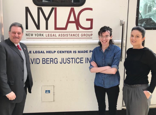 State Sen. Joseph Addabbo, Jr. joins NYLAG attorneys during a recent visit by NYLAG's Mobile Legal Help Center. //Photo courtesy of Joseph Addabbo's office.