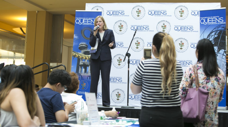 "Borough President Melinda Katz speaks during a ""Know Your Rights Week"" event in June. // Courtesy of the Borough President's Office."
