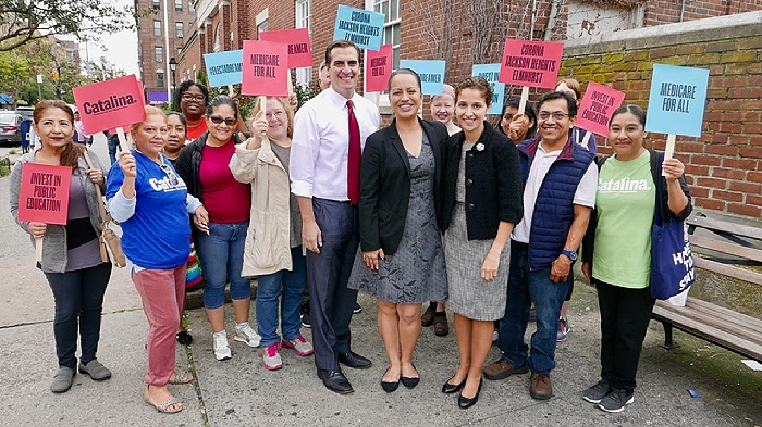 State Sen. Michael Gianaris and Assembly Member Aravella Simotas endorsed Catalina Cruz for State Assembly at a press conference in Jackson Heights Monday. // Photo courtesy of the Cruz campaign