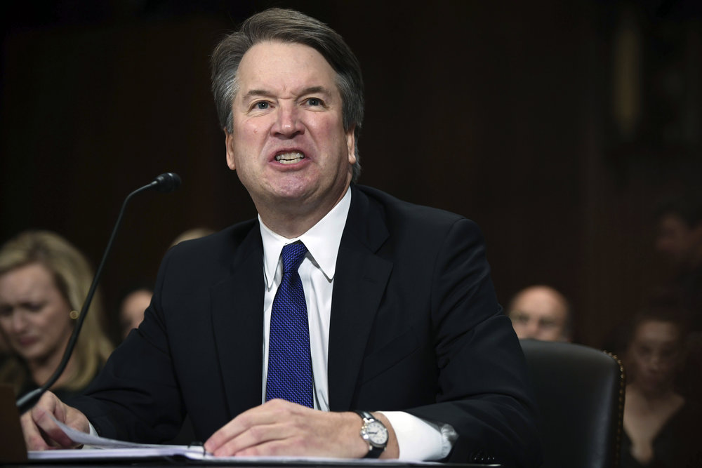 Judge Brett Kavanaugh speaks during a Senate hearing last Thursday. AP Photo.