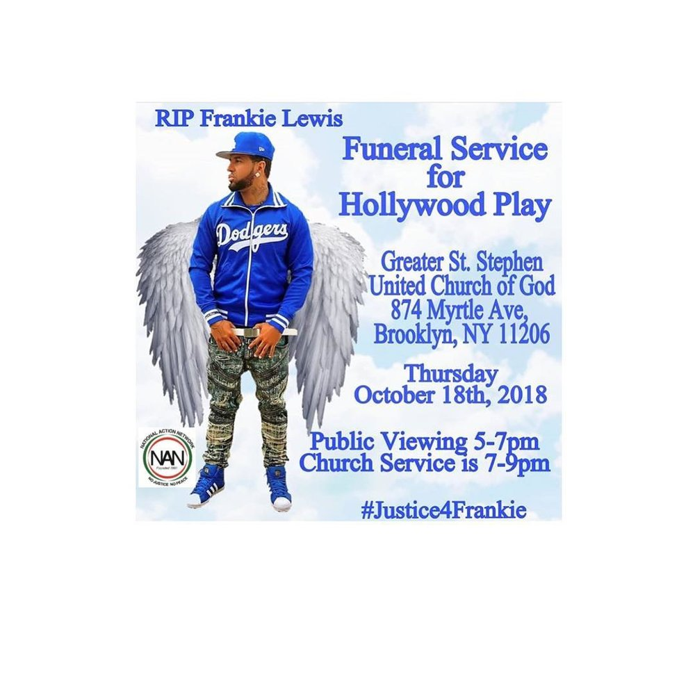 "Flyer for the funeral for rapper Frankie Snyder known as ""Hollywood Play"" who was gunned down in front of Tavern Lounge in Queens. Photo courtesy of The National Action Network."