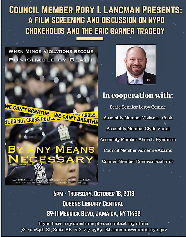 """Caption: Flyer for film screening of """"By Any Means Necessary"""" hosted by Councilmember Rory Lancman. Photo courtesy of Councilmember Lancman's office"""