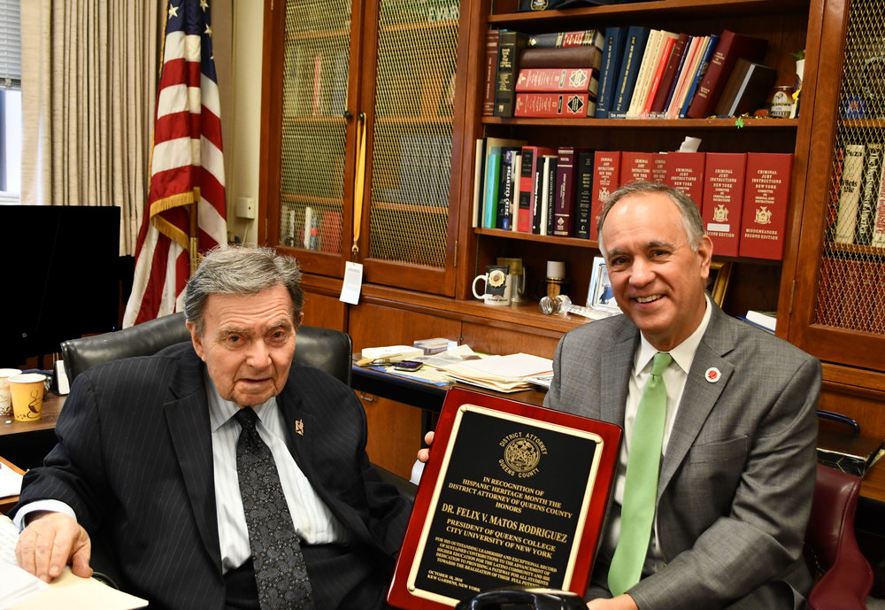 Photo caption: Queens District Attorney Richard A. Brown (left) and Queens College President Fèlix V. Matos Rodríguez. Photo courtesy of DA Brown.