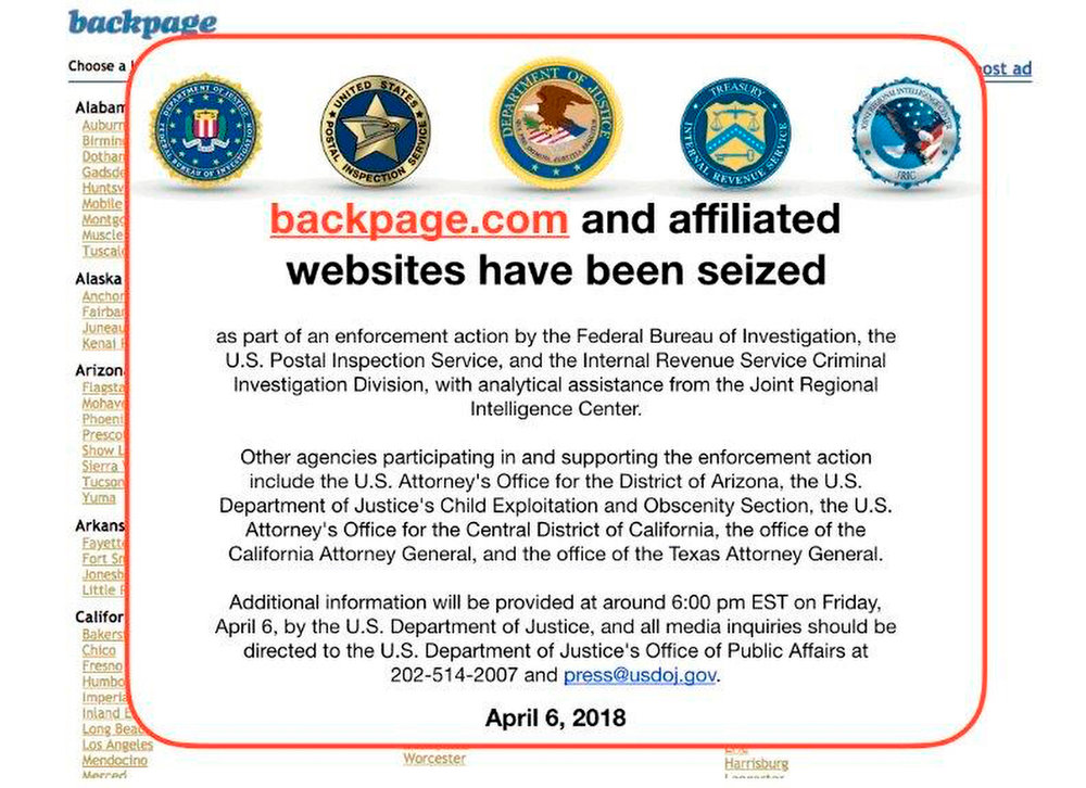 This April 6, 2018, file photo shows an FBI notice on the Backpage.com website. Photo courtesy of AP.