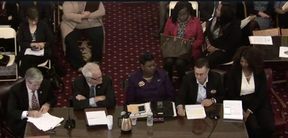 Attorneys representing public defenders and prosecutors make their case for raises at a hearing hosted by the City Council's Committee on the Justice System. // Live stream screenshot courtesy of City Hall