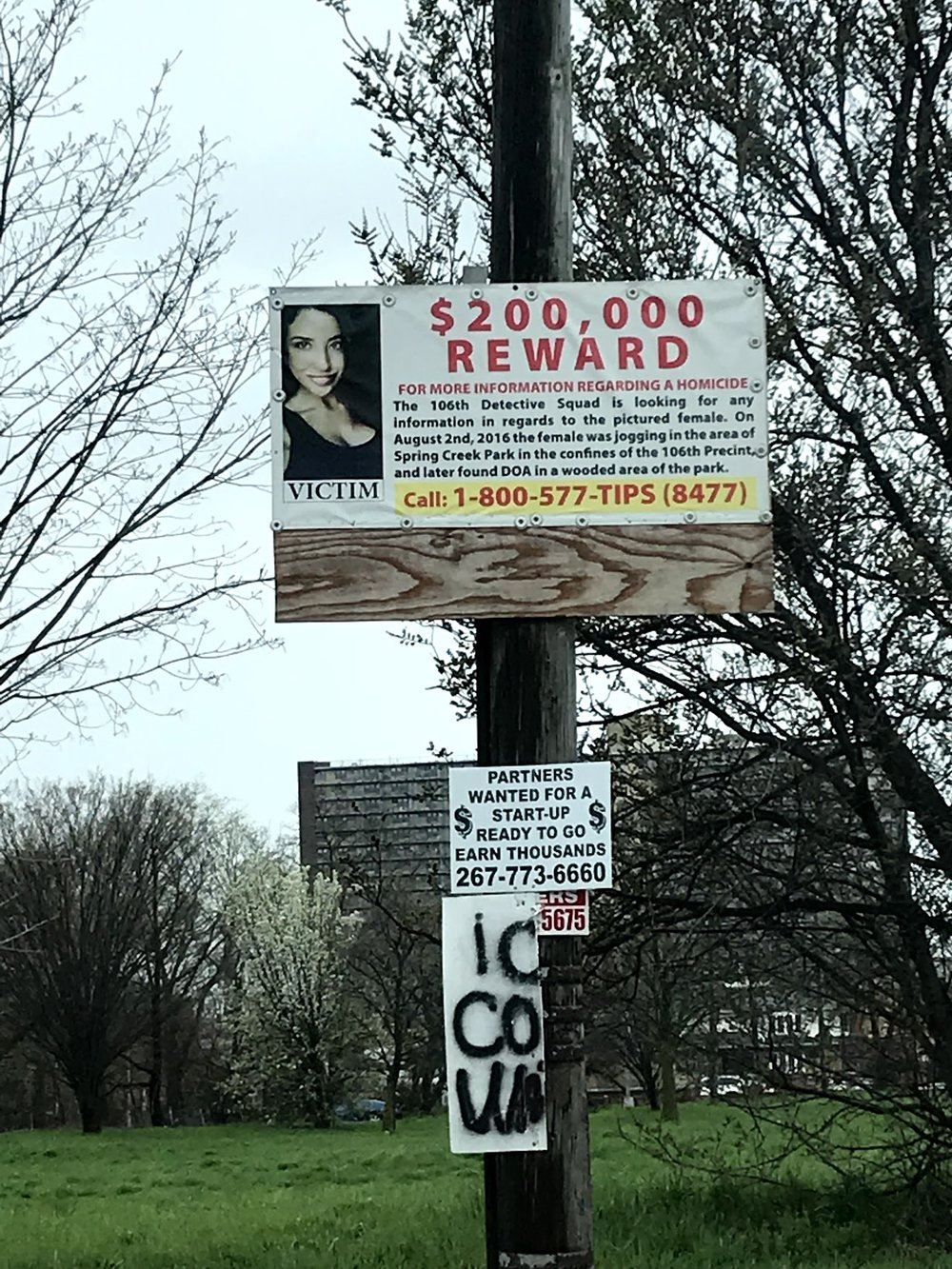 A poster on Conduit Boulevard offering a $200,000 reward for information leading to the arrest of a suspect in Vetrano's murder was still on display April 29. //  Eagle  photo by David Brand